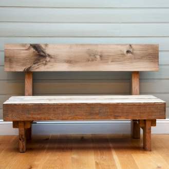 TIME TO THINK SEAT. ENGLISH OAK , HANDMADE circa £1000