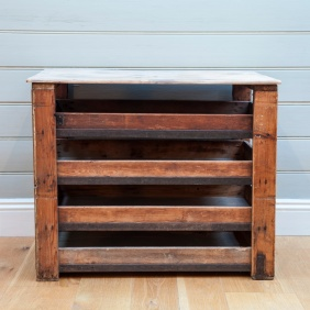 SLIDE AND STORE. RESTORED PINE AND METAL. sold